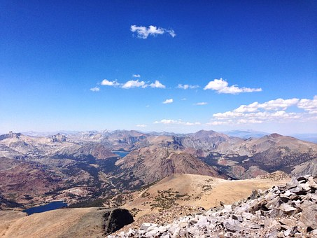 Tioga Pass, Mt Dana, Panorama, Summit, Blue Sky