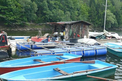 Rowing Boats, Boat Rental, Wendefurth, Dam, Boat House