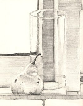 Pencil, Graphite, Still Life, Glass, Pear, Drawing