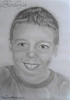 Boy, Men's, Person, Smile, Portrait, Drawing, Graphite