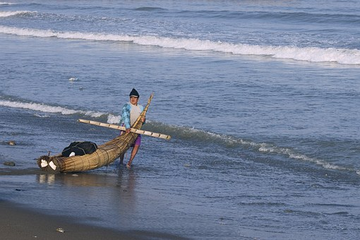 Peru, Trujillo, Reed Boat, Torta De Cabello, Fisherman
