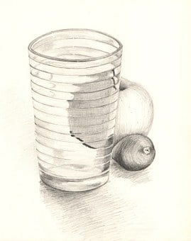 Pencil, Graphite, Still Life, Glass, Apple, Drawing