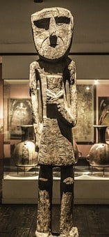 Statue, Museum, Skinny, Wooden, Old, Peruvian, Artefact
