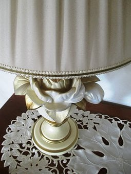 Lamp, Table Lamp, Socket, Rose Motif, Porcelain