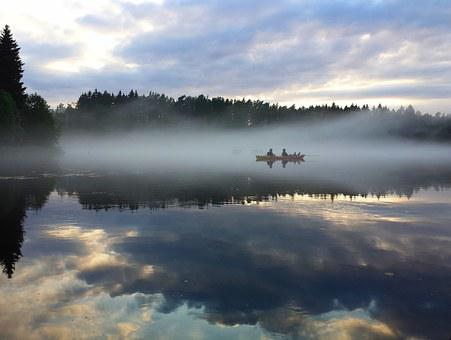 Kayak, Lake, Nature, Landscape, River, Water, The Fog