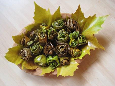 Herbstdeko, Leaves, Rolled, Roses, Autumn, Autumn Leaf