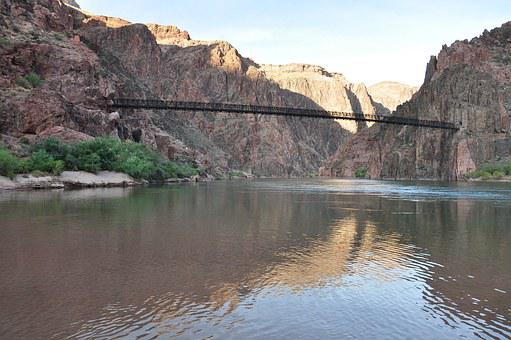 Grand Canyon, Mule Trip, River, Bridge, America