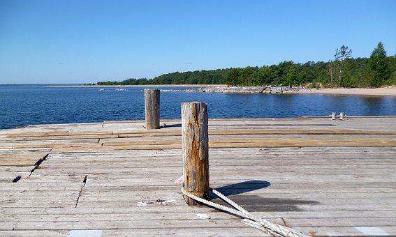 Marina, Pier, Rope, Water, Bay, Beach, Lake, Horizon