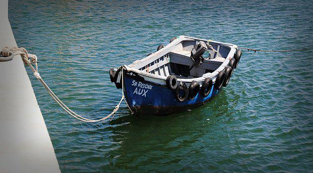Rowing Boat, Boot, Blue, Sea, Port, Dew, Rope, Knot