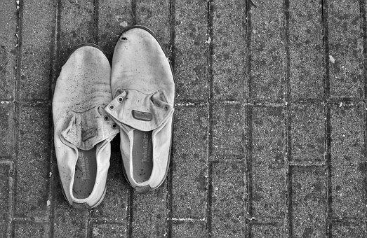Shoes, Abandonment, Black And White, Solitude