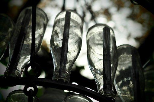 Bottle Of Water, Chandelier, Lamp, Art Work