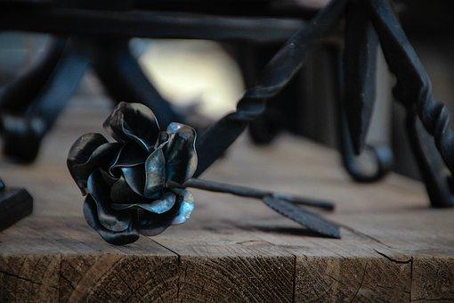 Rose, Forge, Iron, Steel, Metal, Art