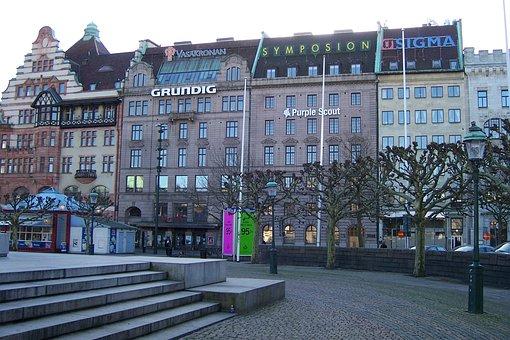 Malmo, Malmö, Sweden, Sverige, Stor Torget, Buildings