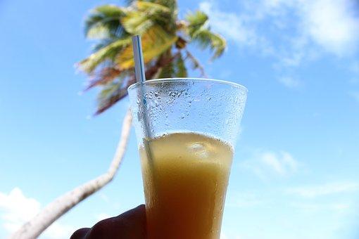 Palm, Drink, Soft Drink, Straw, Sky, Clouds, Drinks