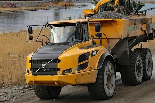 Volvo, Dump Truck, Truck, A40f, Loader, Tipper, Yellow