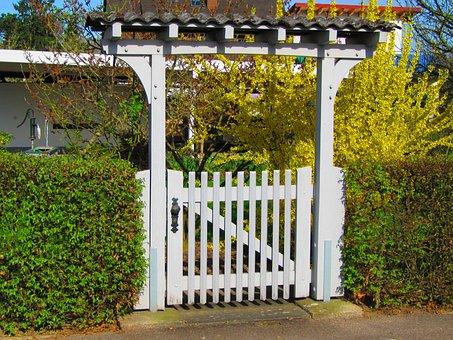 Goal, Garden Gate, Door, Fence, White, Input