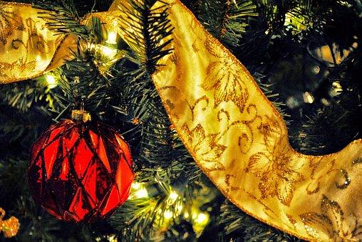 Christmas, Tree, Decoration, Ornament, Red, Ribbon