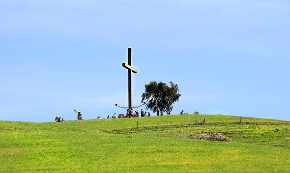 Cross, Religion, Faith, Sky, Wayside Cross