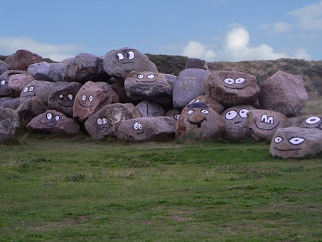 Stones, North Sea, Denmark, Witty, Laugh, Grin, Faces