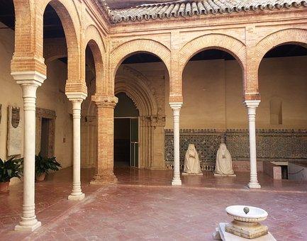 Spain, Seville, Statues, Kneeling, Cloister, Colonnade