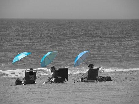Beach, Sunshade, Sunbathe, Parasol, Vacation, Holidays