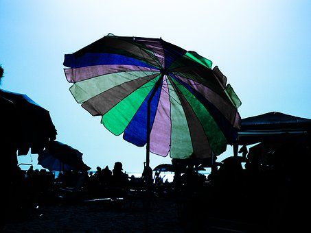 Umbrella, Blue, Sunshade, Beach, Recreation, Summer
