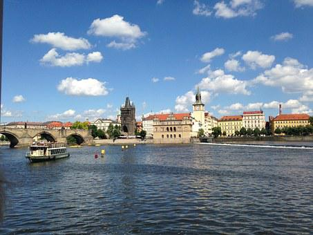 Prague, Vltava, Steamer, River, Charles Bridge, Bridge