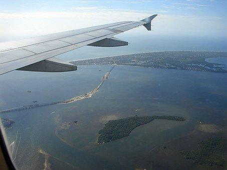 Fly, Plane, Sky, Ocean, Water, Island, Bridge, Boat