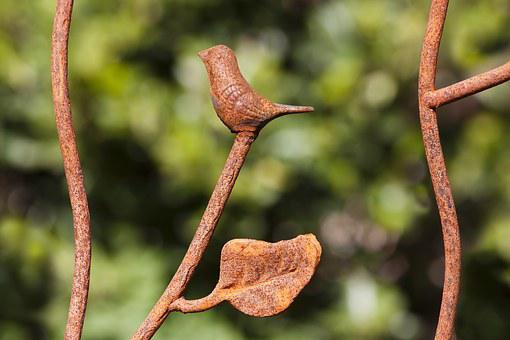 Bird, Leaf, Fence, Iron Fence, Detail, Wrought Iron