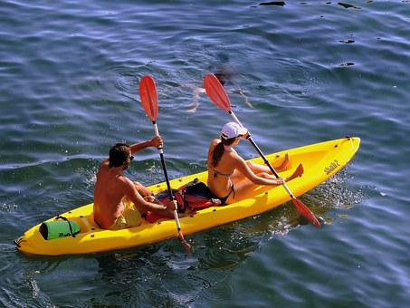 Canoeing, Couple, Row, Water, Remi, Boat, Sea