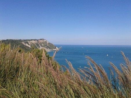 Sea, Italy, Ancon, Prato, Upstream, Conero, Blue