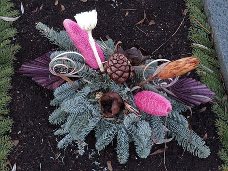 Arrangement, Cemetery, Wreath, Grabschmuck, Flowers