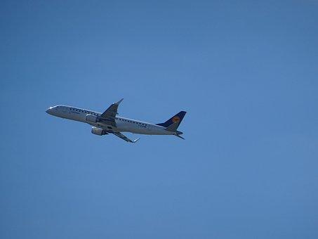 Aircraft, Start, Departure, Lufthansa, Sky, Blue, Fly