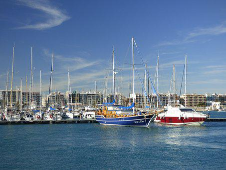 Burriana, Spain, Boats, Port, Blue, Europe, Spanish