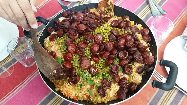 Paella, Chicken, Chorizo, Food, Spanish Cousin