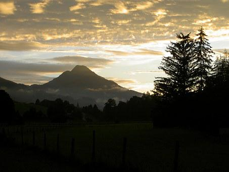 Spielberg, Leogang, Landscape, Sunset, Mountains