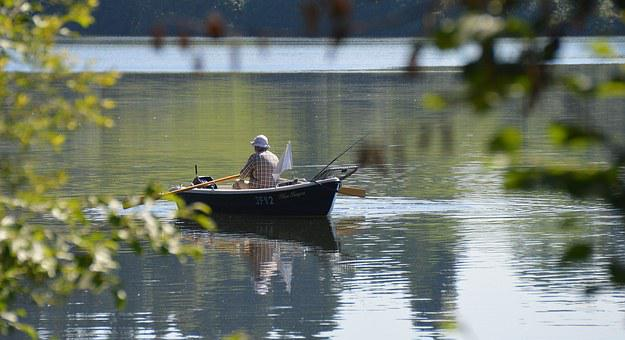 Rottachsee, Rowing Boat, Fish, Boat Trip, Angler