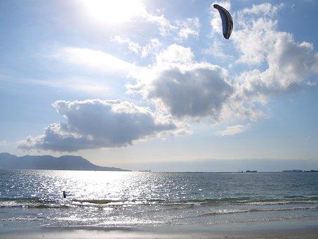 Kiting, Kite, Kitesurfing, Surf, Blue, Sky, Dragons