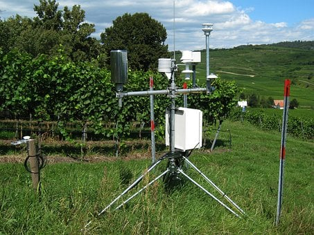 Meadow, Mountain, Hill, Weather Station
