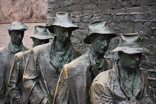Sculpture, Art, Breadline, Bronze, Depression, 1930