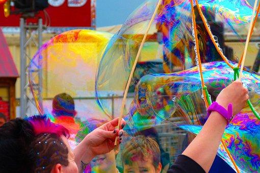 Soap Bubble, Colorful, Heavy Going, Rain Bow Bubble
