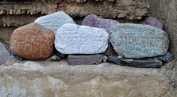 Stones, Ladakh, India, Religion, Culture, Buddhist