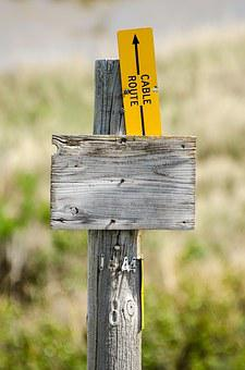 Wood Sign, Cable Route, Wood Post, Rustic Sign, Sign