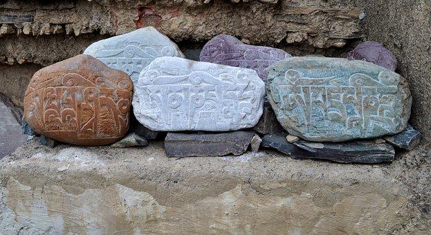Stones, Ladakh, India, Religion, Culture, Buddhist
