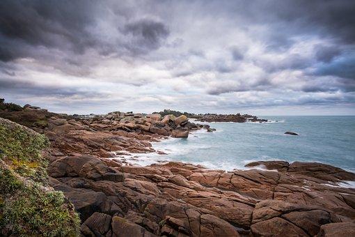 Brittany, Coast, Rocks, Beach, Seaside, Manche, Pink