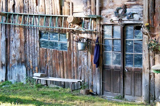 Cabin, Old, Farm, Ranch, Field, Rural, Country House