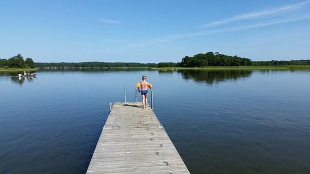 Sea, Bridge, Children, Swim, Sweden, Summer