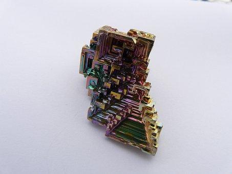 Crystal, Mineral, Iridescent, Bismuth, Bismuth Crystal