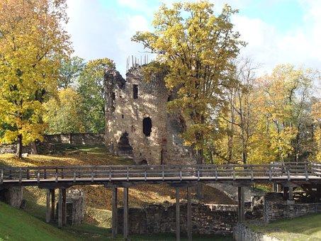 Autumn, Cesis Castle, Latvia, Sunny