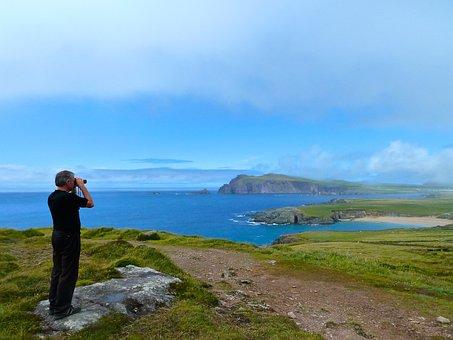 Ring Of Kerry, Binoculars, Man, Looking, Spyglass